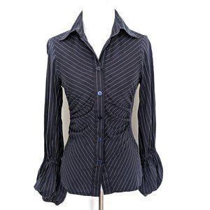 Zara Dark Navy Thin Striped Cotton Shirt